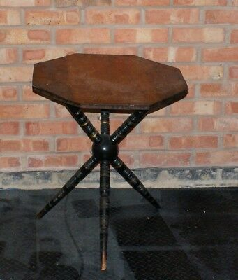 gypsy octagonal tripod table with bobbin turned legs ebonized with gold banding