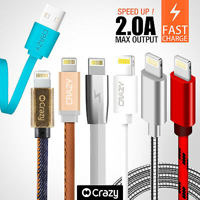 CRAZY USB Cable for iPhone 8 X 7 6S Plus 5 iPad Air Mini Data Sync Charger Cord