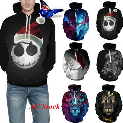 AU Mens Boys 3D Graphic Printed Pullover Hoodie Sweater Sweatshirt Jacket Jumper