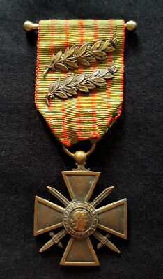 WW1 Original French Medal War Cross 1914 1915 citations Bronze Palms