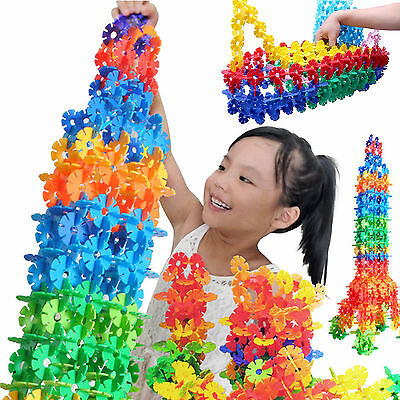 150PCS Plastic Snowflake Building Blocks Puzzle Baby Kids DIY Educational Toys