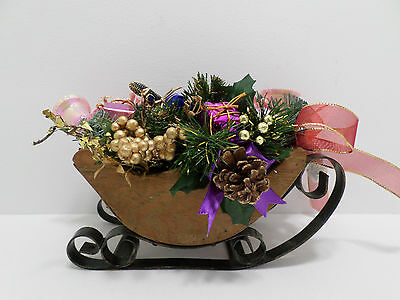 Vintage Brown Wood Sleigh with black iron runners Table Center Piece