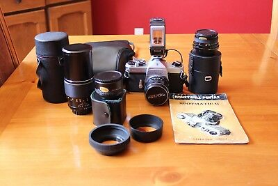 Honeywell Pentax Spotmatic SLR with 3 lenses