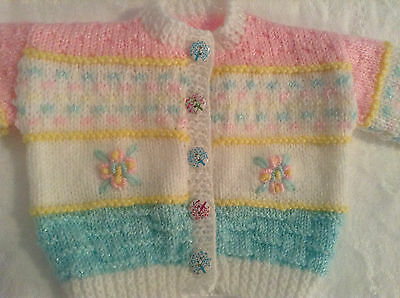 Hand Knitted & Embroided Baby Girl Cardigan - Birth to 3mths