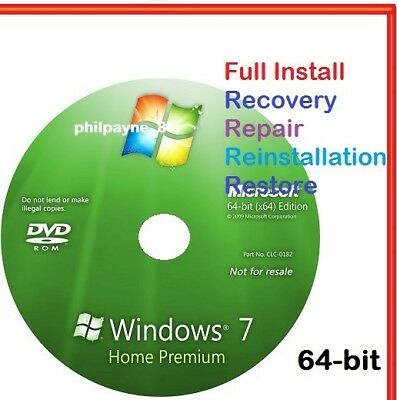 Windows 7 Home Premium 64-Bit Bootable DVD SP1 FULL Install Repair 8 Recovery 10