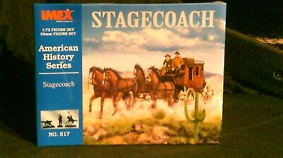 1/72 Scale Imex American History Series Stagecoach + Figures-8 Horses, 8 Figures