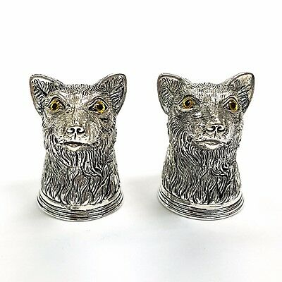 Novelty Antique Style Fox head Salt & Pepper Shakers 925 Glass eyes Silver Plate