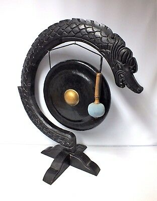 Very Large Carved Wooden & Metal Oriental Gong On Dragon Stand
