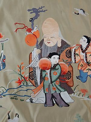 Antique Chinese Figurative Hand Embroidery Panel (X347)