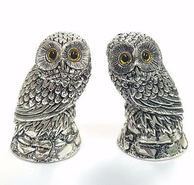 Novelty Antique Style Owl Salt & Pepper Shakers Glass eyes 925 Silver Plate