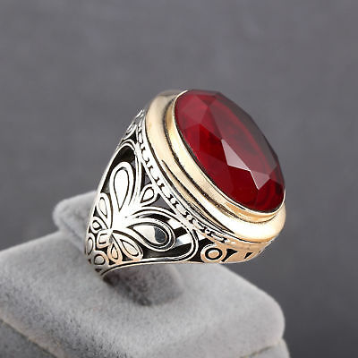 Handcraft Turkish 925 Sterling Silver Jewelry Ruby  Gemstone Men's  Ring