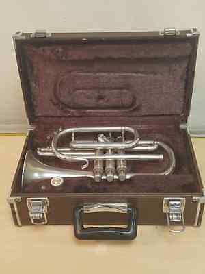 vintage boosey & hawkes 78 cornet / silver-plated /c:1976 / hard case (ash46417)