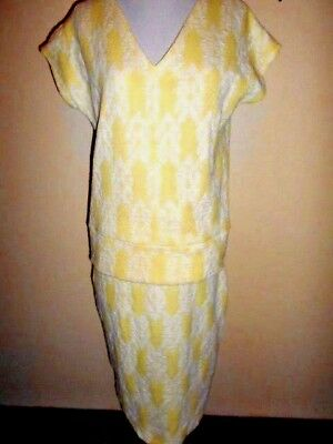 Vintage 1970s SKIRT & TOP SET size S 8 10 lemon&white stretch knit retro suit