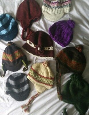 10 x wool hat from Nepal. Hand knitted, PURE WOOL (C)