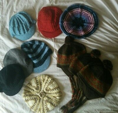 10 x wool hat from Nepal. Hand knitted, PURE WOOL (D)