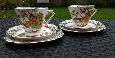 Two Beautiful Art Deco Cups Saucers & Side Plates