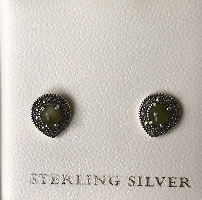 Sterling Silver And Emerald Coloured Connemara (Celtic) Marble Stud Earrings