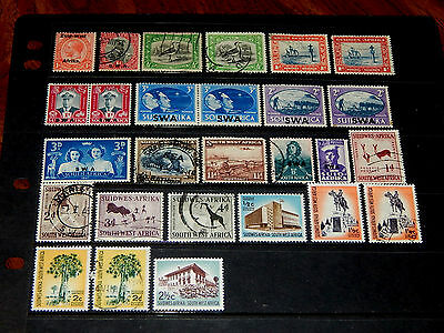 South West Africa stamps - 27 mint hinged and used early stamps - super !!