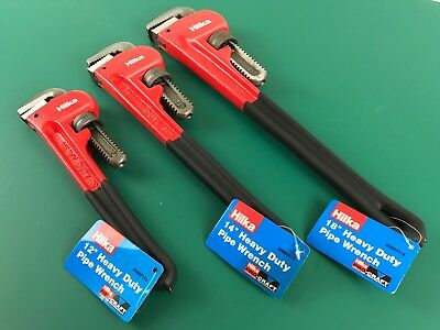 "3: Pipe Wrench 18"" 14"" 12"" Stillson Monkey Wrenches Heavy Duty Hilka"