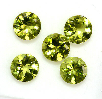 6.37 Cts Natural Period Round Cut 8 mm Lot 05 Pcs Parrot Green Loose Gemstones