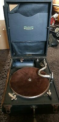 Antique Clumber Hand Wind Record Player for Restoration