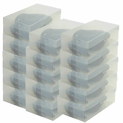 3x PP436 Heavy Duty Clear Plastic Shoe Storage Box Holder Container Organizer
