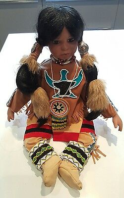 RARE Timeless Collection Porcelain Sitting Native American Indian Doll Child