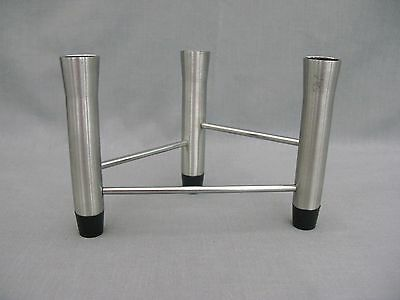 A Stainless Steel Modernist triple Candlestick - great design