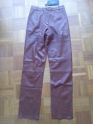 Pantalone vintage Vera Pelle MAX MARA '90 NWT marrone 26-40 BROWN Leather RARE