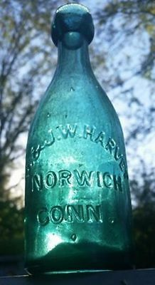 Hard Find Iron Pontil Harvey Norwich CT Soda Green Sm Town Clean c1850