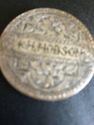 Love Token~ 1861 finely engraved and silvered 1d coin  'KH Hodson'