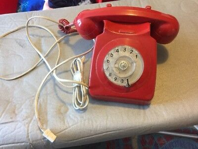 Vintage GPO Red 746 Rotary Telephone For Spares Or Repairs