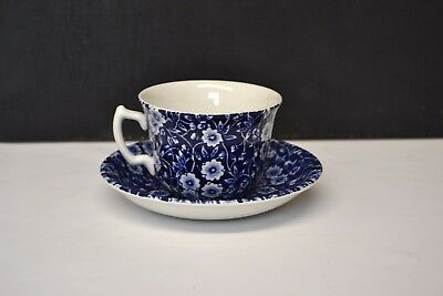 Staffordshire Blue & White Calico Burleigh Cup & Saucer - 2884