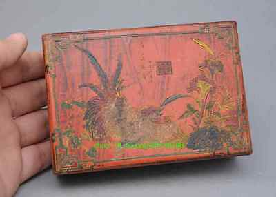 China Wood Lacquerware Rooster Chicken Flower Case Jewelry Box N