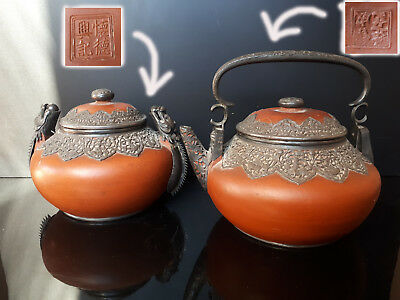 A Chinese Yixing Silver Mounted Teapot For The Southeast Export & A Covered Pot