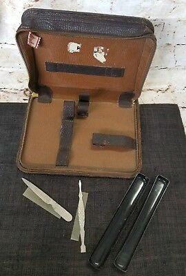 Vintage Bak-Prop 4 Pc.Top Grain Genuine Leather Case Shaving Grooming Set Travel