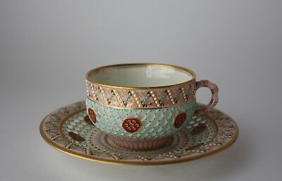 Royal Worcester double walled reticulated antique cup and saucer