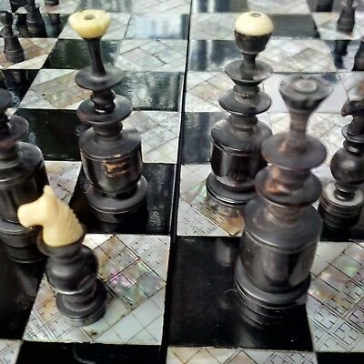Antique Hand Carved Chess Board
