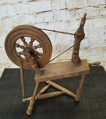 Vintage  Small Tabletop Wooden Spinning Wheel
