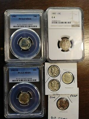 7 silver dimes**3 graded 4 not.