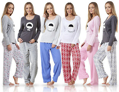 31984e62e12c5 Ladies Pyjama Set Fleece Winter Warm Long Sleeve Womens Nightwear PJ'S
