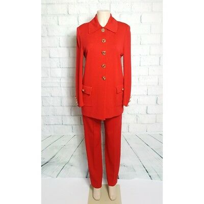 St John Collection Marie Gray Women's Size 6 Red Santana Knit Jacket Pants Suit