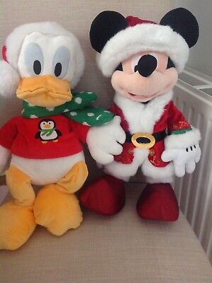 "Large Disney Resorts Exclusive Christmas Mickey Mouse And Donald Duck 17"" Plush"