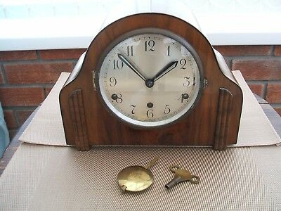 Art Deco Style Walnut Westminster Chime Mantle Clock