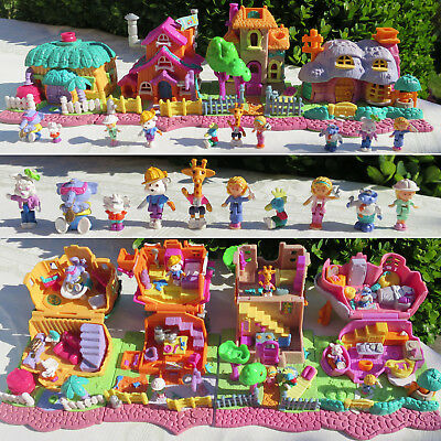 Mini Polly Pocket 4 Häuser Animal Wonderland Elephant Dog Giraffe Rabbit House