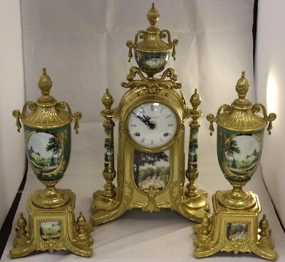 Imperial Green and Gold Clock Set  ##DACTSSE