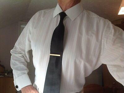 Mens vintage white nylon shirt 16 inch collar. Last one available