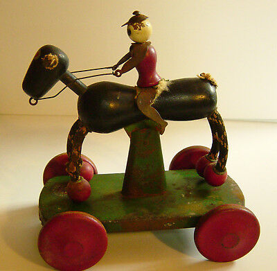 Vintage 1920's Ted Toy-lers Galloping Jockey Black Horse Pull Toy