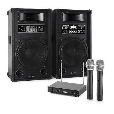 Karaoke Pa Speaker System 2 X Wireless Microphones 1200W Usb Sd Rca Audio