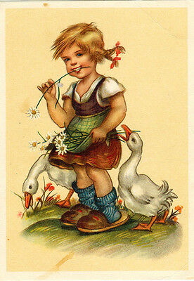 Vintage German postcard LITTLE GIRL WITH DUCKS AND FLOWERS